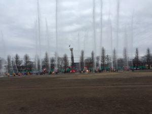 1月8日国立市消防団の出初式での見事な一斉放水(谷保第3公園)